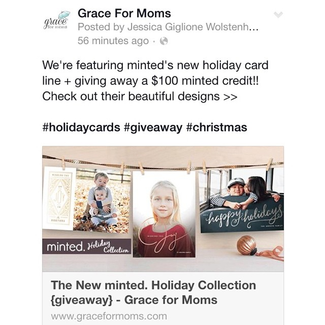 Amazing #giveaway going on today to kick off a new season at Grace for Moms! Get your #holidaycards done early with @minted Check out their beautiful designs + enter to win a $100 credit!!