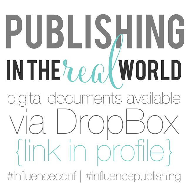 If you attended my {Jess's} publishing session at #influenceconf you can find the proposal documents we used in DropBox. So honored to share my experiences with you to help you follow your dreams! #influencepublishing