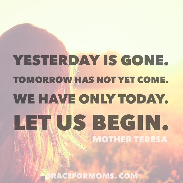 It's Wednesday. Maybe you feel like a failure for not accomplishing more by now this week. Maybe you are overwhelmed by what is to come. We have only today. Let us begin with grace as our guide. #sharegrace #motherhood
