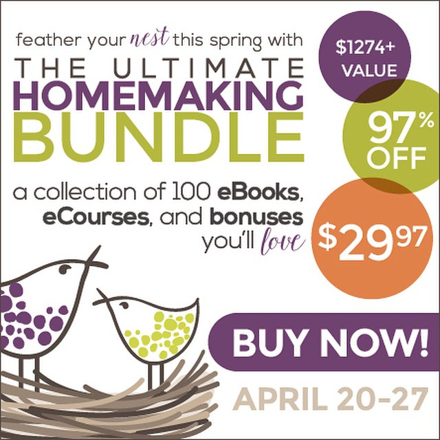 So excited about this bundle and not just because my books are included {though that is super fun!}. Grab over 100 ebooks + other resources for a fraction of retail cost. Everything from green cleaning to meal planning to marriage to motherhood...I'm planning to sit with this library of goodness this summer and glean all I can to fine tune our home. Check it out if you want to join me. {link in profile} #afflink